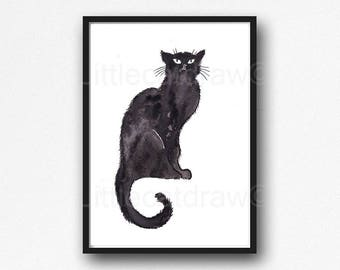 Cat Print Chat Noir Watercolor Painting Print Black Cat Print Wall Art Cat Lover Gift Art Print Chat Noir Print Wall Decor Unframed