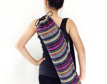 Handmade Yoga Mat Bag Yoga Bag Sports Bags Tote Yoga Sling bag Pilates Bag Pilates Mat Bag Woven Yoga Bag Women bag Woven Cotton bag (WF11)