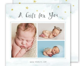 Photography Gift Card Template - Gift Certificate template, Photography Marketing Template 5x5