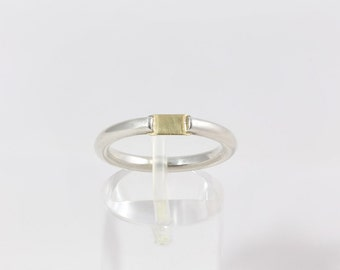 Silver ring with 18 carat gold detail