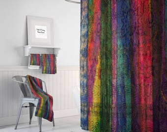 "Boho Chic Shower Curtain "" Gypsy Romance"" Optional Bath Towels and Mat"