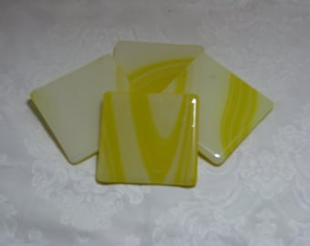 Sunflower 4X4 Fused Glass Coasters - Set of 4