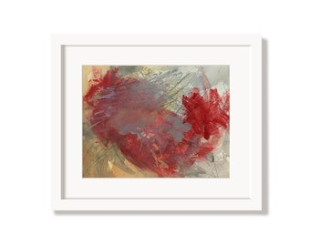 Red Colorful Art Print from an Original Abstract Painting