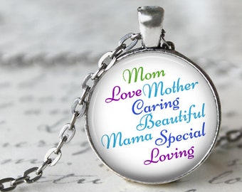 Custom Word Cloud Pendant, Necklace or Key Chain - Mom, Mother's Day - Custom list of words, colors, font