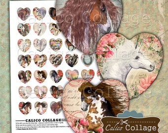 Wild Horses Digital Collage Sheet, Heart Collage Sheet, 25mm Heart Images, 1 Inch Hearts, Digital Download, Printable Paper, CalicoCollage
