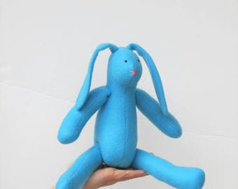 Blue bunny rabbit hare soft toy, Easter bunny doll plush rabbit, bunny softie toy, gift for Easter, birthday, baby shower nursery decor