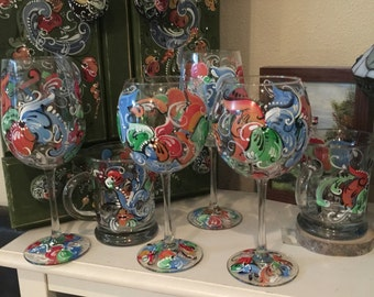 Hand painted rosemaled wine glass choice of style