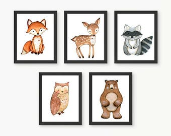 Forest Animals, Forest Nursery, Woodland Nursery Decor, Woodland Nursery Wall Art, Woodland Animal Prints, Nursery Room Art,Size 11x14 Set 5