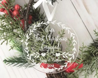 Our First Christmas Engaged Ornament - Personalized Acrylic Ornament, She Said Yes, Engagement Gift, Holiday Engagement, Mr. and Mrs.