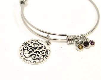 Mom You Are the Heart of Our Family Expanding Bangle Charm Bracelet, Gift For Her, Mother's Birthstone Bracelet, Birthstone Gift for Mom