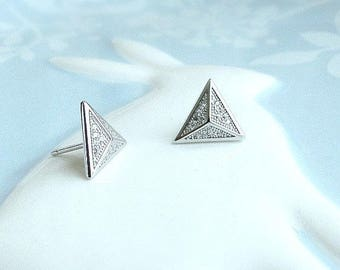 Pyramid stud earrings, Sterling silver or Rose gold fill