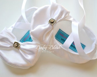 White Satin with Bow Baby Shoes Soft Ballerina Slippers Baby Booties