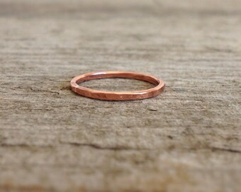 Hammered Copper Ring, Copper Band, Stacking Rings, Gift for Her, Thin Ring, Stackable Ring, Bohemian Ring, Bohemian Jewelry