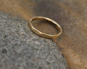 READY TO SHIP Solid 14 kt Yellow Gold 2mm Thick Ring -  Thick 14kt Yellow Gold Hammered Band - Simple band - Hand Made - Gold Band - Size 7