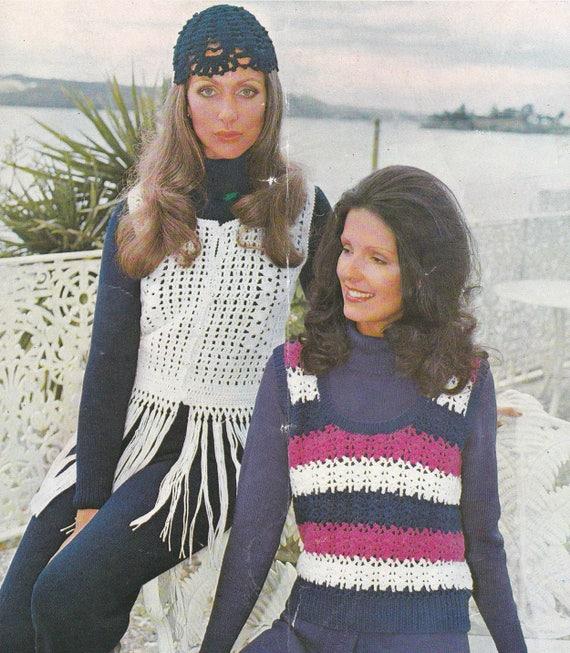 Women\'s crochet waistcoat PDF pattern fringed crocheted vest ...