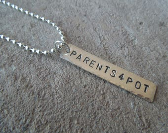 Parents4Pot P4P pendant necklace Sterling Silver - Parents 4 Pot fundraiser benefit