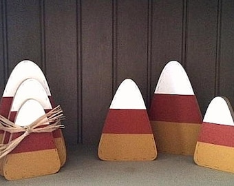 Wooden candy corn, set of 3