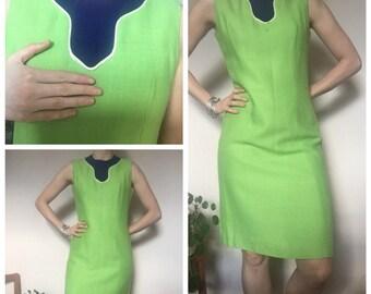 60s Vintage green linen shift mod dress uk 10/12
