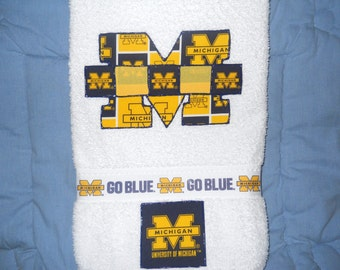 University of Michigan Hand Towel, Michigan Wolverines Bathroom Hand Towel Bathroom, Wolverines Kitchen Towel, Wolverines Fan Gift
