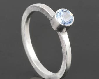 Aquamarine Stacking Ring. Sterling Silver. March Birthstone. Genuine Gemstone. Ready to Ship. Size 4.25 s17r018