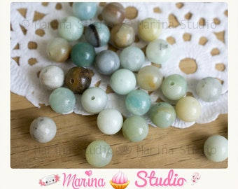 10 amazonite 8mm round natural - gemstone beads