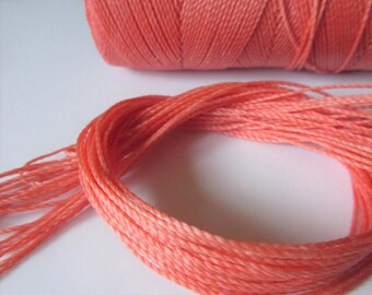 Coral Color Waxed Polyester Cord 25ft pack  = 8.33 yards = 7,6 meters Linhasita Thread Brand #640