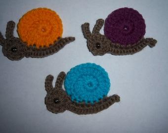 Details about  Crochet snail appliques,embellishment,scrapbooking,sewing set 5
