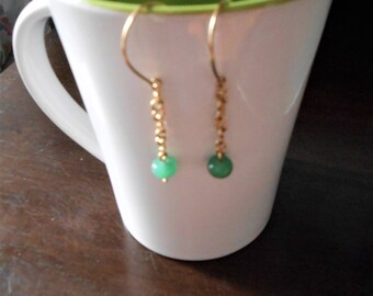 Figure-Eight Brass And Emerald Earrings