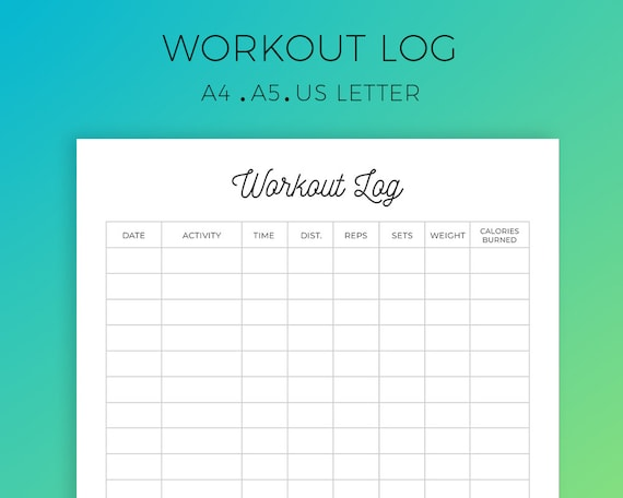 workout log printable exercise log workout planner workout