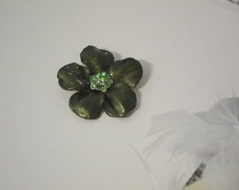 Olive Green Flower Pendant/Brooch, Designer Brooch, Flower Brooch, Rhinestone