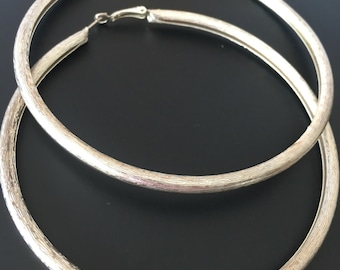 Extra Large Silver Tone Hoop Etched Earrings 9.5cm