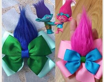 Trolls hair bows, trolls hair clips, trolls bows, poppy hairbows, fur bows, troll poppy hairbows, troll hairbows, trolls hairbows, branch