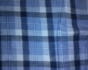 Blue and Gray Plaid Flannel Fabric