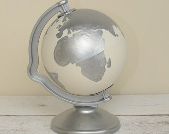 Hand Painted White and Silver World Globe Money Box | Piggy Bank | Travel Fund | Map | Wanderlust | Savings | Personalised