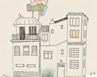"""naif """"naive"""" inspired illustration, limited edition print (hotel)"""