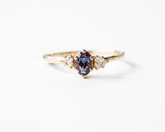 Alexandrite three stone 14k gold twig ring, trillion oval three stone ring, alexandrite moissanite engagement ring, twig engagement ring