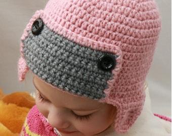 Crochet Baby Hat, Crochet Aviator Hat, Handmade Hat, Kid's Earflap Hat, Crochet Kid's Aviator Hat, Pink Hat, Earlflap Hat, Winter Hat