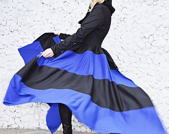 Black Convertible Jacket with Blue Stripes, Black Hood Jacket, Jersey Flared Jacket Tc113, Black and Blue Hood Coat by Teyxo