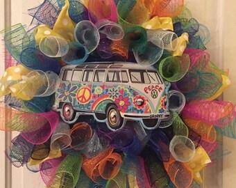 VW Hippie Van Rainbow Wreath