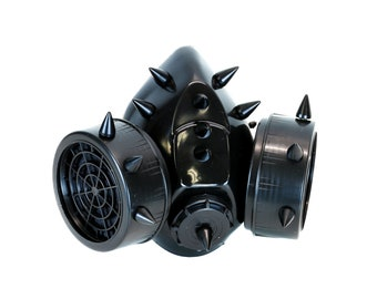 Black Metal Short Spikes Gas Mask Respirator Cyber Goth Cosplay - DYS-DS-GM128-BS