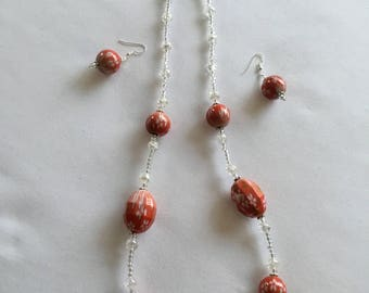 Chunky bead necklace and earring set