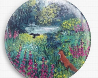 Needle Minder - Cross Stitch Accessory Licensed Art By Jo Grundy, Woodland, Through The Foxgloves, CrossStitch Pin Keeper - Fridge Magnet