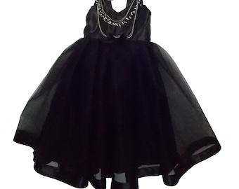Audrey Hepburn Dress: all black tutu dress, Birthday Party, Halloween, Twirly dress, costume, sophisticated dress, special occasion