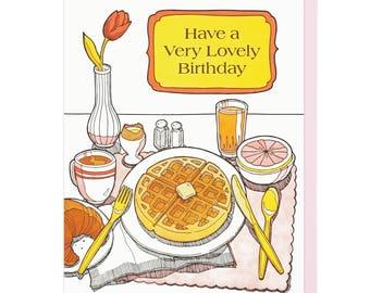 Lovely Birthday Breakfast Letterpress Card