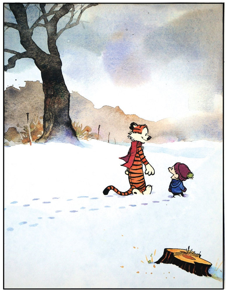 Calvin and Hobbes Snow Walking Print
