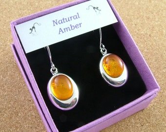 Natural Amber oval drop earrings