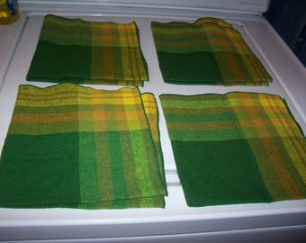 "Cloth napkins -green/yellow plaid -14"" square-Set of 4"