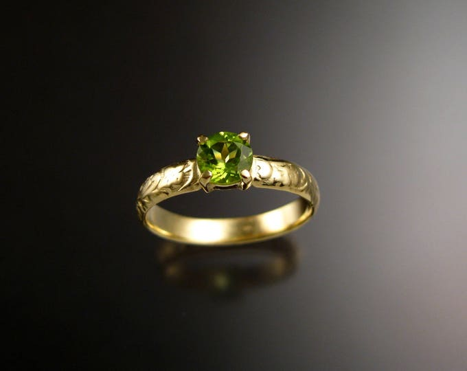Peridot Wedding ring 14k Green Gold Victorian Floral pattern Engagement ring made to order in your size