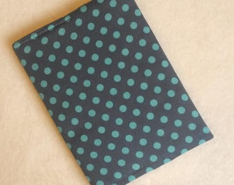Teal and Steel Polka Dot Fabric Covered A6 Notebook with Lined Paper