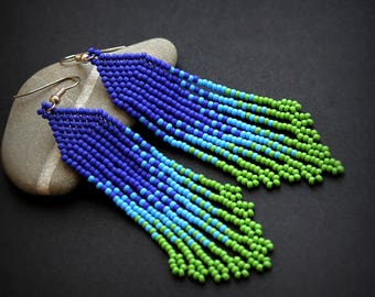 Long green and blue seed bead earrings Bohemian beaded earrings Beaded dangle earrings Seed bead fringe earrings Colorful jewelry for her